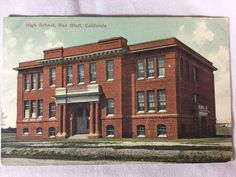 Vintage High School, Red Bluff, CA postcard unposted early 1900s, BURNED DOWN