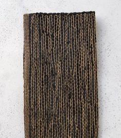 Leather - Jute - Cotton Rug / Black / 140 x 200 cm