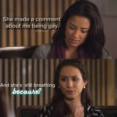 Shay Mitchell (Emily Fields) Troian Bellisario (Spencer Hastings) - Pretty Little Liars Pll Memes, Pll Quotes, Funny Quotes, Preety Little Liars, Pretty Little Liars Quotes, Spencer Hastings, Spencer Pll, Gilmore Girls, Best Shows Ever