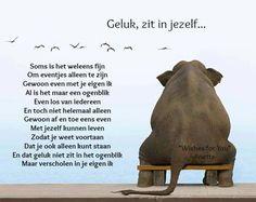 Geluk is maar voor afhankelijk van omstandigheden, de rest zit in jezelf. Wisdom Quotes, Words Quotes, Sayings, Beautiful Lyrics, Beautiful Words, Dutch Words, Dutch Quotes, Sweet Words, Verse