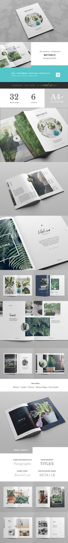 Inspiration, editorial ideal, green   Botanic Portfolio Template on Behance