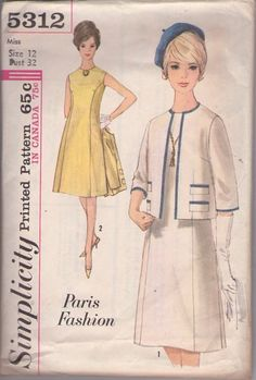 MOMSPatterns Vintage Sewing Patterns - Simplicity 5312 Vintage 60's Sewing Pattern SHARP Mad Men Paris Fashion Princess Seams Flared Day Dress, Chic Suit Jacket Ensemble