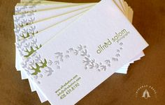 I have an enormous fondness for silhouettes of birds in flight, and I think these business cards are so pretty and a little Zen. By Dingbat Press.