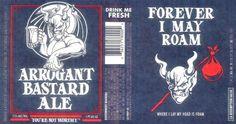 Label for Stone Brewing Arrogant Bastard Forever I May Roam