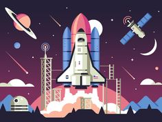 Lift Off designed by Matt Anderson for WiseBanyan. Connect with them on Dribbble; Space Illustration, Graphic Design Illustration, Game Design, Icon Design, Nasa, Indian Flag Images, Matt Anderson, Good Photo Editing Apps, Systems Art