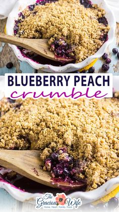 This stunning summer fruit crumble has it all! Blueberry Peach Crumble is bursting with fresh blueberries and peaches and covered with an amazing buttery cinnamon and brown sugar oatmeal crumble for a tangy, sweet, and fresh dessert. A big scoop of cold creamy vanilla ice cream on top is a must! Be sure to top you Blueberry Peach Crumble with a scoop of creamy, cold vanilla ice cream to really make the dessert!   @thegraciouswife #howtomakethebestcrumble