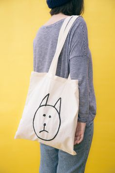 Embroidered tote bag The sad cat design por thesadlemon en Etsy