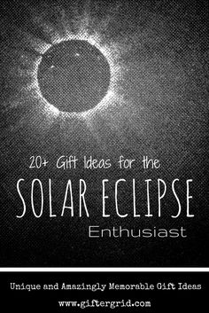 Gift ideas for the person in your life that is beyond excited for the upcoming solar eclipse! Ideas include DIY ideas and products that will make this year's solar eclipse truly memorable. These gifts also are perfect for those that have an interest in astromony - with an emphasis on the gift-themes related to the moon and sun. Environmental gifts are included that relate to solar energy as well!