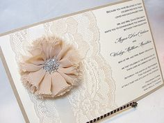 ALEXANDRA Lace Wedding Invitation Invite by LavenderPaperie1