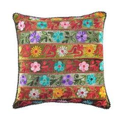 Multicolor cotton velvet pillow with an embroidered floral stripe motif.     Product: PillowConstruction Material: Cotton velvetColor: MultiFeatures: Insert included Embroidered fabricWill enhance any dcor  Dimensions: 16 x 16