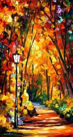 """LIGHT OF THE FOREST -  PALETTE KNIFE Oil Painting On Canvas By Leonid Afremov -  Size 20"""" x 36"""""""