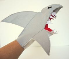 Great White Shark Hand Puppet Jaws Fish Shark Week Boys Toy Eco Friendly Felt Christmas Tree Topper Holiday Fin Jimmy Buffett
