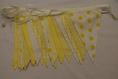 Sunshine Yellow Bunting for hire, from per metre for a 4 day hire period, quality fabric bunting handmade in Chester. Fabrics used include checks, spots and plain cottons. Wedding Bunting, Fabric Bunting, Chester, Period, Sunshine, Fabrics, Colours, Queen, Yellow