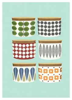 Kitchen art print Retro Kitchen Cooking Pots by OldBrandNewPrint