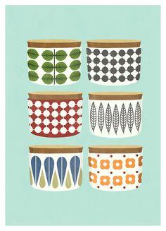 Kitchen art print Retro Kitchen Cooking Pots by OldBrandNewPrint