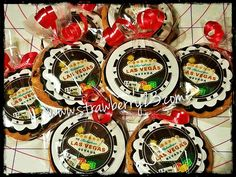 Las Vegas money chips themed chocolate chip cookies with an edible image logo!!!