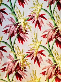 Vibrant Vintage Mid Century Tropical Barkcloth Never by KimberlyZ, $119.00
