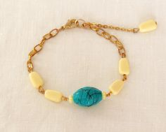 Yellow and Turquoise Blue Bracelet by DariaAccessories on Etsy