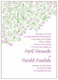 "Invitations 5"" x 7"" Portrait. Printable Wedding Invitations Paisley April Suite: Pink and Green"