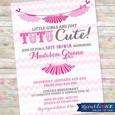 Baby Girl Shower Invitation Chevron Tutu Cute by DreamlikeMagic, $13.00