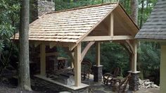 Timberframe Outdoor Living Area traditional-patio