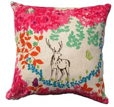 Pink Japanese Pillow Cover Decorative Pillow-Deer in Forest, Floral  Echino Fabrics -Modern Decorative Pillow -18 x18. $25.00, via Etsy.