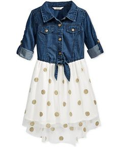 GUESS Girls' Dot-Print & Denim High-Low Dress - Girls 7-16 - Kids & Baby - Macy's