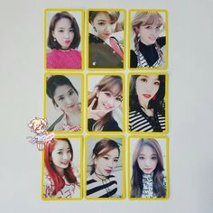 Top girl group TWICE debuted less than three years ago, but they've already released a ton of merchandise. New Mercedes, Photo Cards, Kpop, Girl Group, Polaroid Film, Instagram Posts, Collection, Binder, Anime Art
