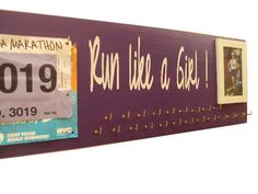 running medals holder : running medals holder with picture. $46.50, via Etsy.