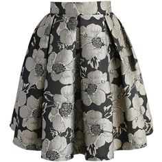 Chicwish Shiny Blossom Jacquard Skirt ($45) ❤ liked on Polyvore featuring skirts, black, flower skirt, jacquard skirt, floral knee length skirt, floral skirt and flower print skirt