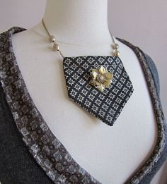 Recycled necktie statement necklace. Cute!