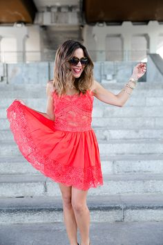 Paula Ordovas from My peeptoes blog with our Dolce Vita dress in red SHOP ONLINE: http://www.charoruiz.com/es/producto/vestido-busto-2/