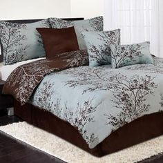 Blue and brown nature bedding