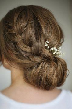 Bridal Hairstyle. Perfect Braid Loose Bun by http://beautiful-brides.co.uk    #wedding #weddings #inspiration #ideas Catherine Kentridge, Celebrant
