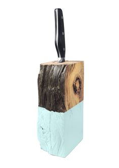 Driftwood Knife Holder. Knife Block. Aqua Blue. Wood Knife Holder. Kitchen Decor.