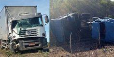 NONATO NOTÍCIAS: Colisão traseira entre caminhão-baú e caçamba deix...