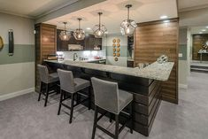 Contemporary Kitchen with Pendant Light, Crown molding, Andino White Granite Countertop, Perry Barstool, Carpet Dad's Kitchen, Kitchen Cabinet Colors, Kitchen Design, Kitchen Cabinets, Kitchen Ideas, White Ice Granite, Dark Cabinets, Granite Countertops, Bar Stools
