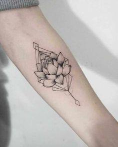 Geometric lotus flower tattoo