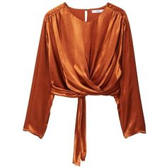 MANGO Satin wrap blouse ($80) ❤ liked on Polyvore featuring tops, blouses, copper, wrap top, surplice wrap top, long sleeve wrap blouse, satin wrap blouse and embellished tops