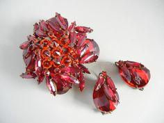 Vintage Schreiner New York Pin Earrings Red Orange Jewels Reverse Set