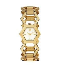 Tory Burch Amelia Watch, Gold-Tone/Ivory, 25 x 29 mm $595