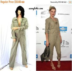 35f247f7e60c 80s aviator jumpsuit  onesie size S   M 1980s army green khaki coveralls  overalls jumper one piece parachute jump suit SunnyBohoVintage