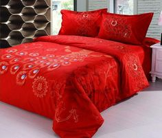 92df5102b9ac8 Aliexpress.com   Buy 100% cotton red Luxury Peacock and Peony 4pcs Chinese  traditional wedding bedding set King Queen size B2066 Air shipping from  Reliable ...