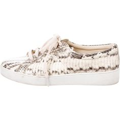 Pre-owned Michael Kors 2015 Snakeskin Valin Sneakers ($150) ❤ liked on Polyvore featuring shoes, sneakers, animal print, ivory shoes, rubber sole shoes, summer sneakers, colorful sneakers and snakeskin sneakers