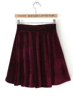 Wine Red Pleated Velvet Skirt GBP£15.92
