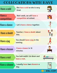 Collocations with HAVE! Below is the list of useful collocations with HAVE in English you should learn. English Teaching Materials, Teaching English Grammar, English Writing Skills, English Language Learning, English Tips, English Fun, English Study, English Lessons, English Phrases