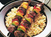 Adventure to Greece with this lamb dish, marinated for supreme flavor and tenderness. Beef Steak, Pork Roast, Lamb Dishes, Side Dishes, Kabob Recipes, Healthy Recipes, Healthy Food, Shishkabobs Recipe, Shish Kebab