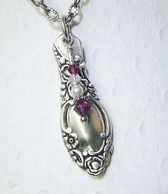 "Demitasse Spoon Necklace, Fuchsia Swarovski Crystals, White Pearl - ""Ballad"" 1953"
