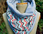 Reversible Circular Scarf, Cotton Neck Warmer, Chevron Cowl, Chunky Tube, Gray &  black, red, blue, white Jersey Cosy snood