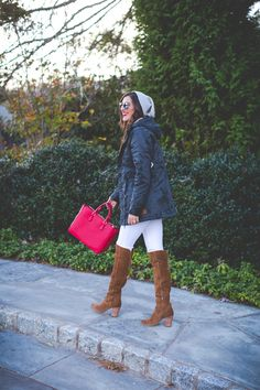 green parka, winter parka, fall parka jacket, parka coat, gray beanie, slouchy beanie, red tory burch tote, over the knee boots,  fall outfit // grace wainwright from a southern drawl